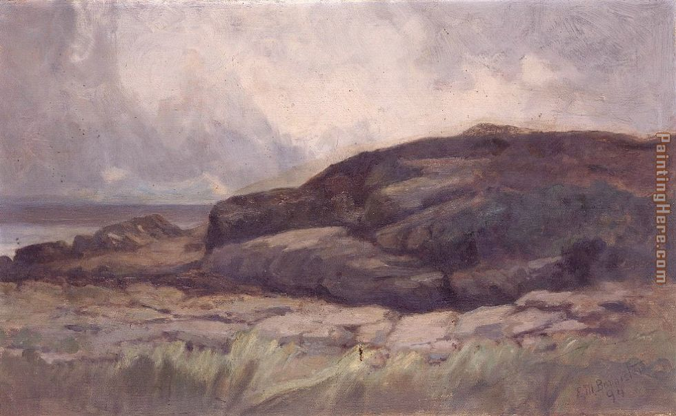 landscape with rock painting - Edward Mitchell Bannister landscape with rock art painting